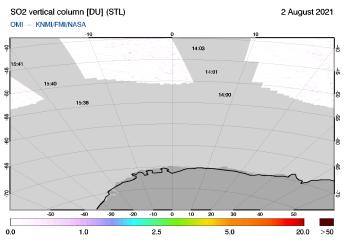 OMI - SO2 vertical column of 02 August 2021
