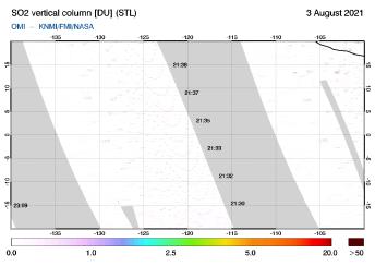 OMI - SO2 vertical column of 03 August 2021