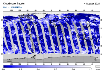 OMI - Cloud cover fraction of 04 August 2021