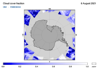OMI - Cloud cover fraction of 06 August 2021
