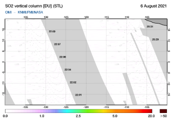 OMI - SO2 vertical column of 06 August 2021