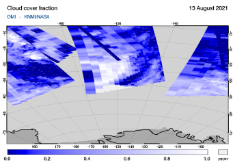 OMI - Cloud cover fraction of 13 August 2021