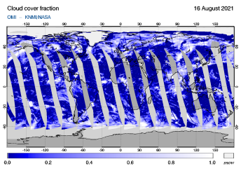 OMI - Cloud cover fraction of 16 August 2021