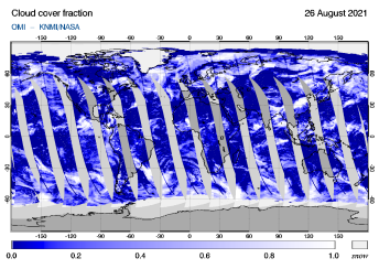 OMI - Cloud cover fraction of 26 August 2021