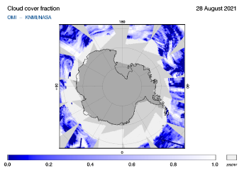 OMI - Cloud cover fraction of 28 August 2021
