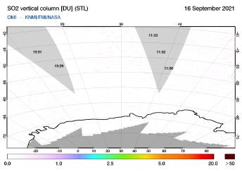 OMI - SO2 vertical column of 16 September 2021