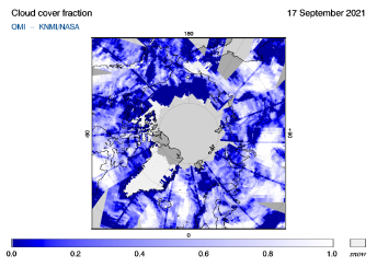 OMI - Cloud cover fraction of 17 September 2021