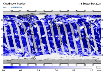 OMI - Cloud cover fraction of 18 September 2021