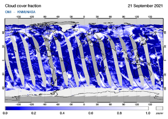 OMI - Cloud cover fraction of 21 September 2021