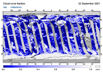 OMI - Cloud cover fraction of 22 September 2021