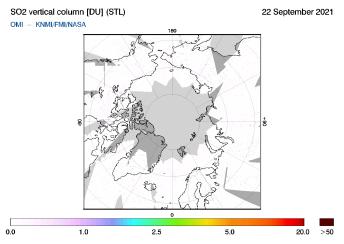 OMI - SO2 vertical column of 22 September 2021