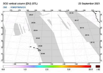 OMI - SO2 vertical column of 23 September 2021