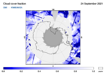 OMI - Cloud cover fraction of 24 September 2021