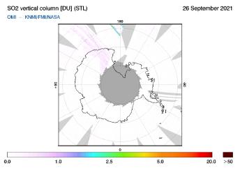 OMI - SO2 vertical column of 26 September 2021