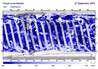 OMI - Cloud cover fraction of 27 September 2021