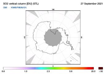 OMI - SO2 vertical column of 27 September 2021