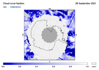 OMI - Cloud cover fraction of 28 September 2021
