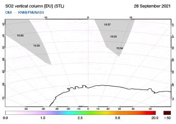 OMI - SO2 vertical column of 28 September 2021