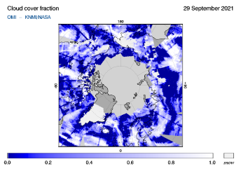 OMI - Cloud cover fraction of 29 September 2021