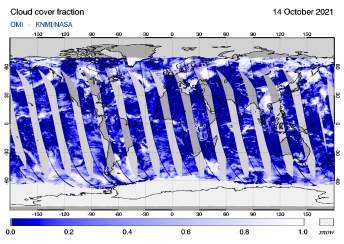 OMI - Cloud cover fraction of 14 October 2021