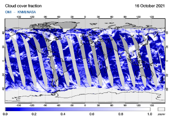 OMI - Cloud cover fraction of 16 October 2021