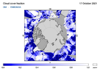 OMI - Cloud cover fraction of 17 October 2021