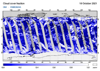 OMI - Cloud cover fraction of 18 October 2021