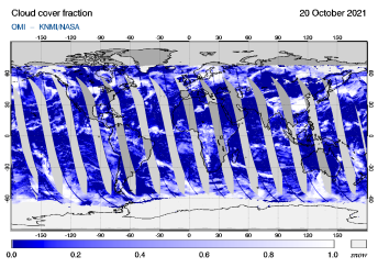 OMI - Cloud cover fraction of 20 October 2021