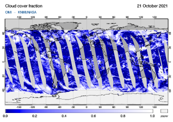 OMI - Cloud cover fraction of 21 October 2021