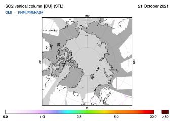 OMI - SO2 vertical column of 21 October 2021