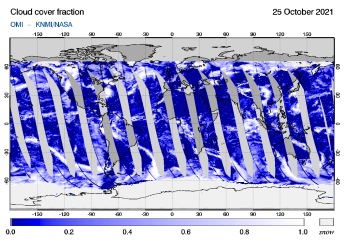 OMI - Cloud cover fraction of 25 October 2021