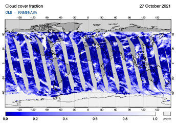OMI - Cloud cover fraction of 27 October 2021