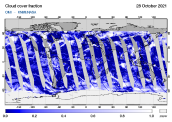 OMI - Cloud cover fraction of 28 October 2021