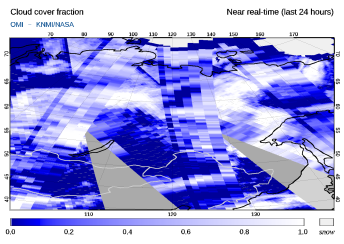 OMI - Cloud cover fraction of 09 March 2021