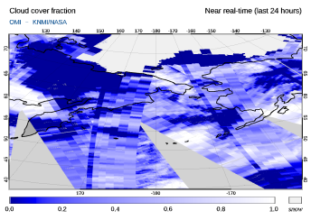 OMI - Cloud cover fraction of 23 June 2021