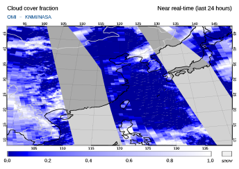 OMI - Cloud cover fraction of 27 February 2021