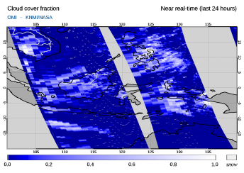OMI - Cloud cover fraction of 29 January 2020