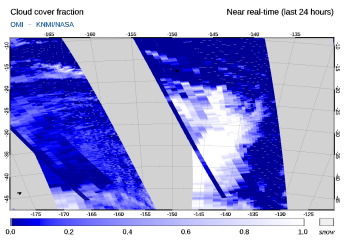 OMI - Cloud cover fraction of 24 October 2021
