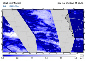 OMI - Cloud cover fraction of 05 August 2021