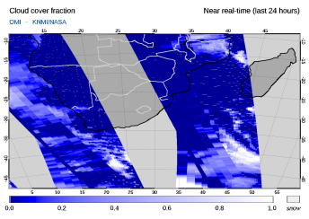 OMI - Cloud cover fraction of 23 September 2021