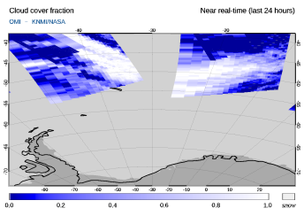 OMI - Cloud cover fraction of 24 July 2021