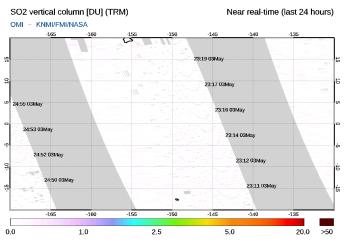 OMI - SO2 vertical column of 05 August 2021
